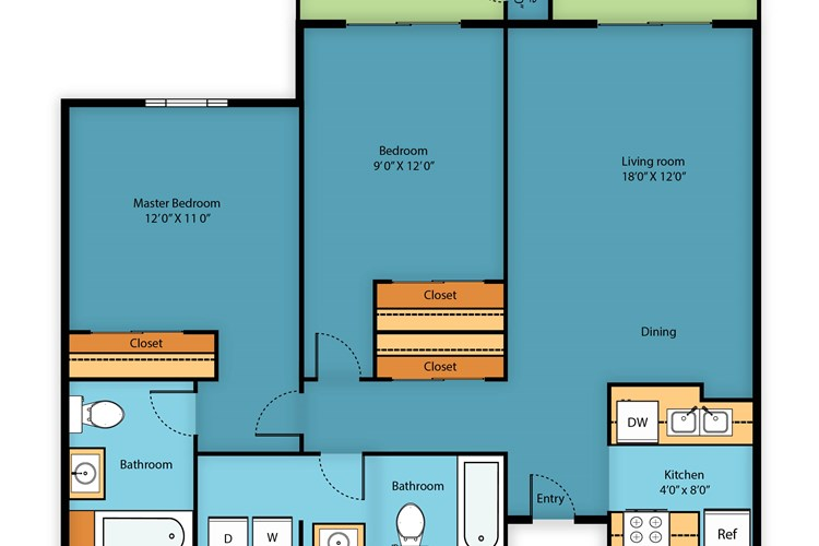 Two bed/Two bath 980 sq ft
