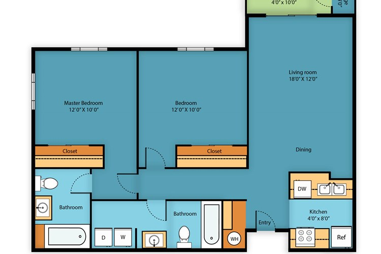 Two bed/Two bath 940 sq ft