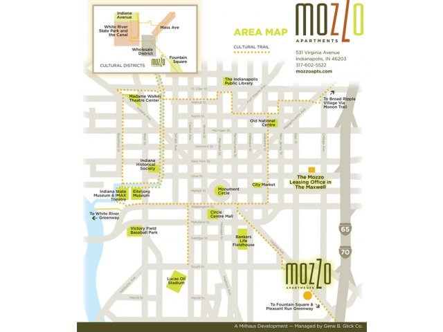 Mozzo Apartments Downtown Indianapolis is right on the Cultural Trail - check out our neighborhood map to see all the cultural offerings that will be in your new neighborhood!