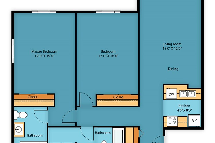 Two bed/Two bath 1095 sq ft