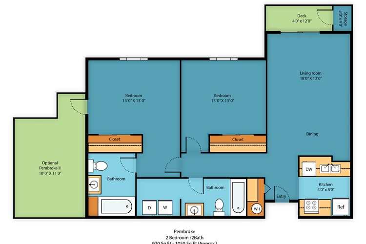 Two bed/Two bath 970-1050 sq ft