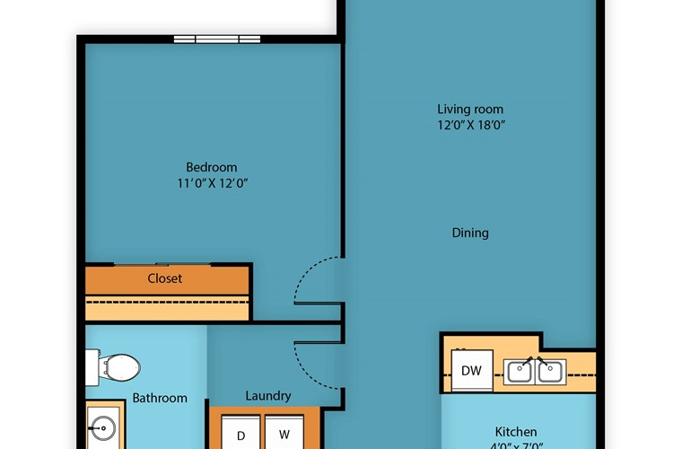 One bedroom 665 sq ft